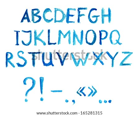 Blue hand drawing font - letters of latin alphabet - stock photo