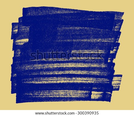 Blue hand-drawn grungy marker stroke box with copy space on beige background - stock photo
