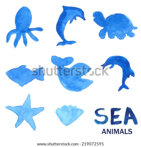 Blue hand drawn watercolor painted sea animals set. Illustration of dolphin, octopus, fish, whale, shark, sea star and shell. - stock photo