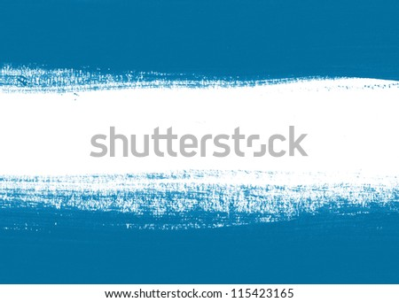 Blue hand painted brush stroke daub background - stock photo