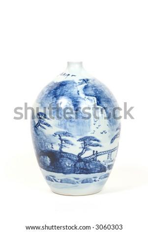 Blue hand painted Chinese ceramic antique vase - stock photo