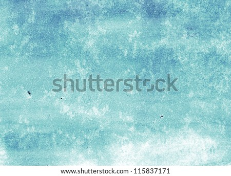 Blue hand painted watercolor background - stock photo