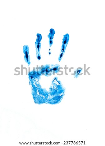 blue hand print on white background - stock photo