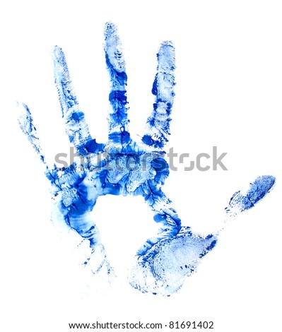 blue hand print on white isolated