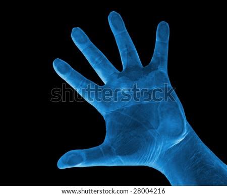 Blue Hand, X-RAY Like - stock photo
