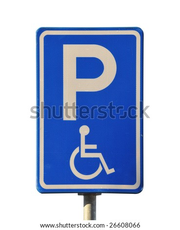 Blue handicap parking or wheelchair parking space