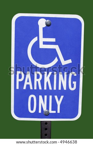 blue handicap parking sign with green background - stock photo