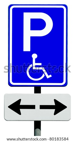 Blue handicapped parking sign for disabled drivers - stock photo