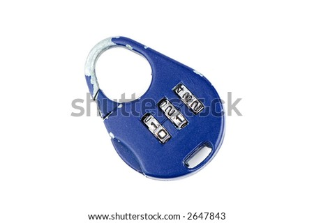 Blue handled combination lock isolated over white - stock photo
