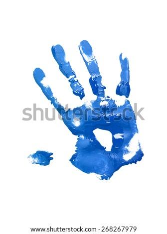 Blue handprint on white - stock photo