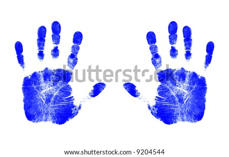 Blue Handprints - stock photo