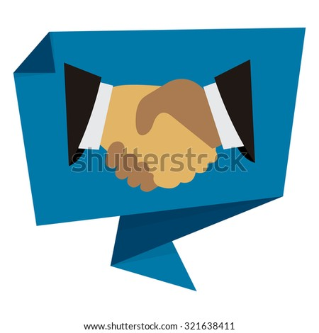 Blue Handshake, Hand Holding Paper Origami Speech Bubble or Speech Balloon Infographics Sticker, Label, Sign or Icon Isolated on White Background - stock photo