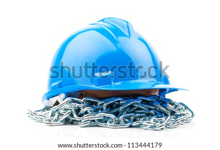 blue hard hat and chain isolated on white background - stock photo