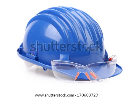 Blue hard hat and glasses. Isolated on a white background. - stock photo