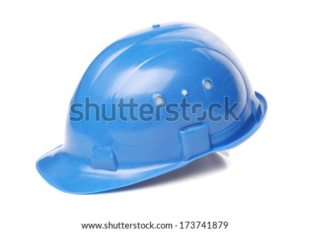 Blue hard hat close up. Isolated on a white background. - stock photo