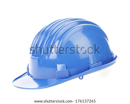 Blue hard hat. Isolated on a white background. - stock photo