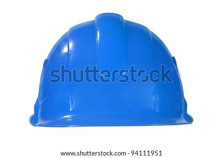 Blue hard hat isolated on white - stock photo