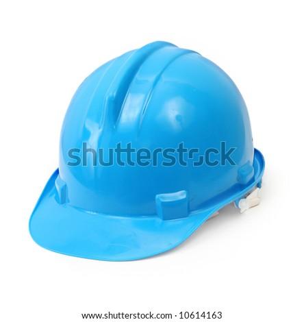 blue hard hat isolated on white background - stock photo