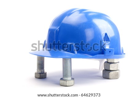 blue hard hat with path - stock photo