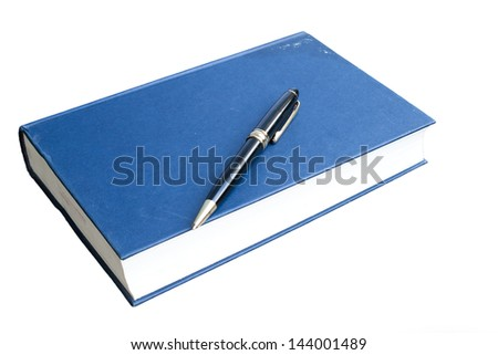 blue hardcover with pen book isolated on white background
