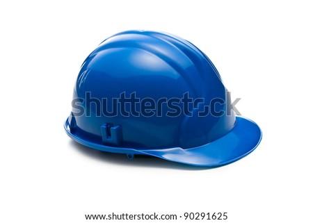 blue hardhat on white background - stock photo