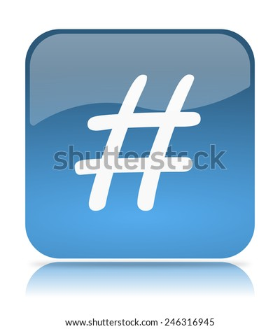 Blue hash tag App Icon Illustration on White Background - stock photo