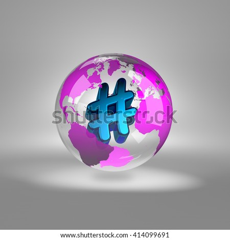 Blue Hashtag Symbol into a Transparent Purple World Globe on Grey Background 3D Illustration - stock photo