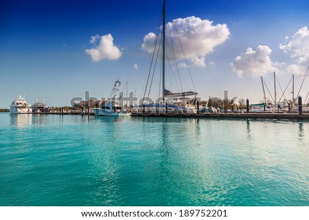 Blue Haven Marina from the water, Providenciales, Turks and Caicos  - stock photo