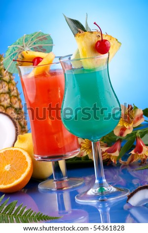 Blue Hawaiian and Hurricane cocktails. Most popular cocktails series. - stock photo