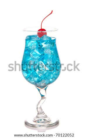 Blue Hawaiian Lagoon Cocktail with with malibu rum, blue curacao, vodka, tequila; pineapple juice, lime juice and red maraschino cherry on a white background - stock photo