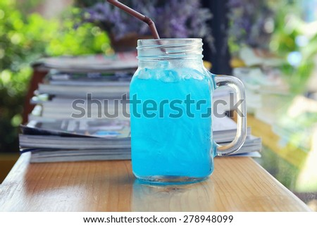 Blue Hawaiian lime soda, closeup and vintage tone