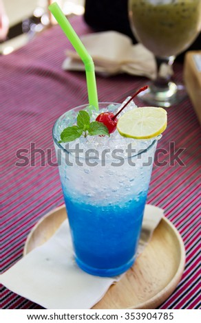 blue hawaiian soda with peppermint and lemon and cherry on top - stock photo