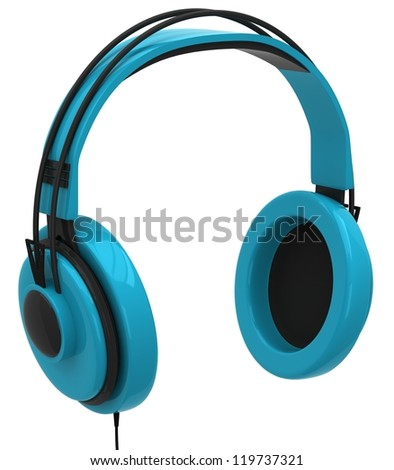 Blue headphones isolated on a white background - stock photo