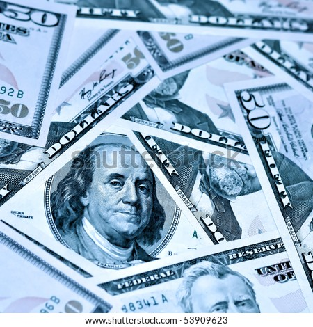 blue heap of fifty dollars - stock photo