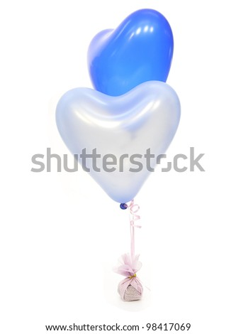 blue  heart balloons isolated on white background - stock photo