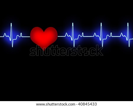 Blue heart cardiogram with red heart in black background