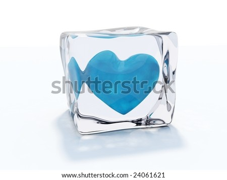 Blue heart frozen in ice cube isolated on white - stock photo
