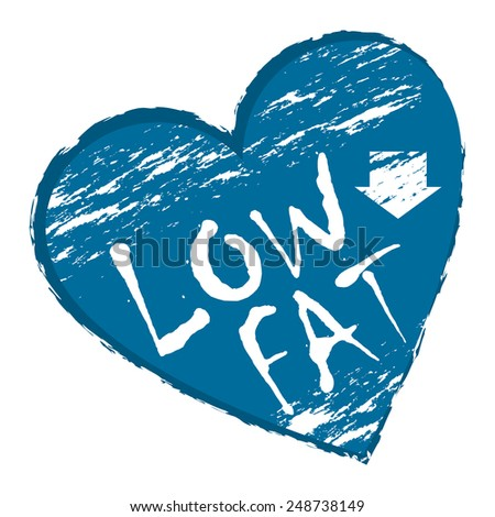 Blue Heart Shape Low Fat Sticker, Icon or Label Isolated on White Background  - stock photo