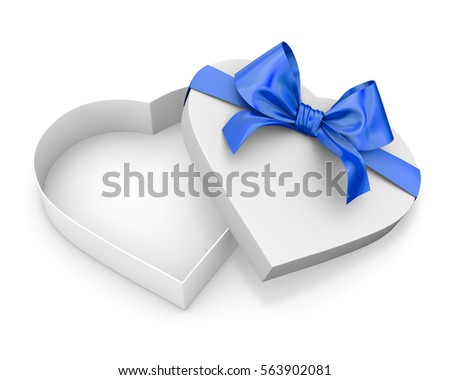 blue Heart shaped open gift box top view Valentine day concept , 3d rendering