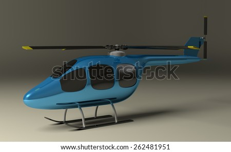 Blue helicopter with black tinted windows on gray squared background, perspective view - stock photo
