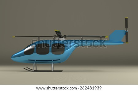 Blue helicopter with black tinted windows on gray squared background, side view - stock photo