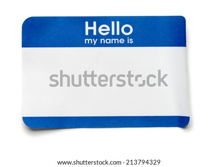 Blue Hello Name Tag on White - stock photo