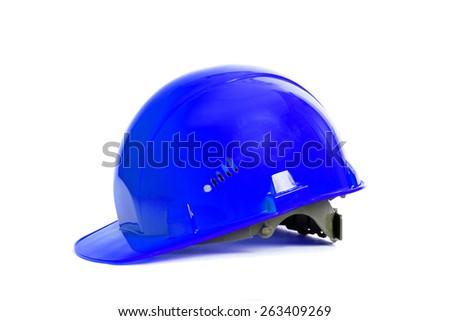 Blue helmet isolated on white background - stock photo