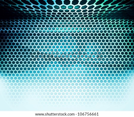 Blue Hex Grid Abstract Background - stock photo