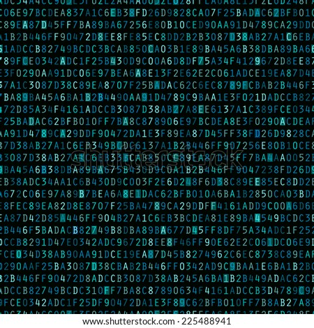 Blue hexadecimal computer code repeating background wallpaper  - stock photo