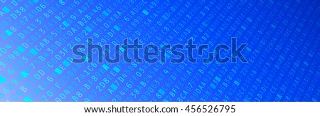 Blue hexadecimal data computer code banner illustration - stock photo