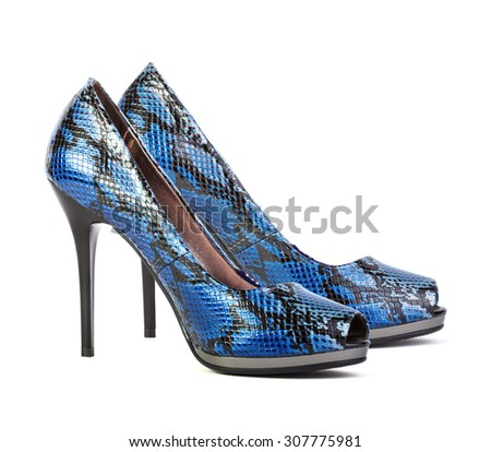 Blue high heel women shoes isolated on white background