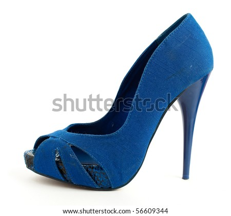 blue high heeled shoe isolated - stock photo