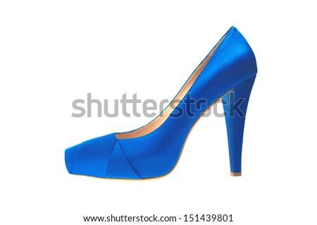 blue high heeled shoe isolated on white background - stock photo
