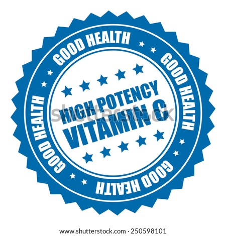 blue high potency vitamin c good health sticker, badge, icon, stamp, label isolated on white  - stock photo